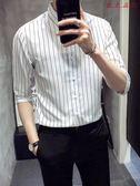 男士短袖襯衫韓版修身條紋襯衣休閒中袖 衣普菈