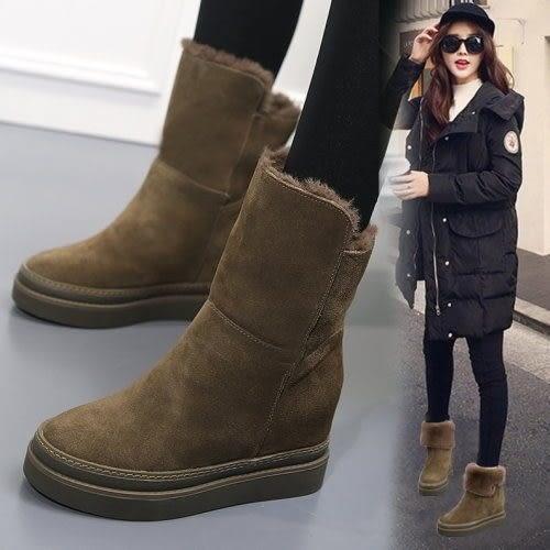 內增高.修長簡約兩穿保暖翻領內增高短靴.白鳥麗子