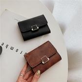 女士短款皮夾 2020新款ins小錢包女短款時尚多卡位折疊零錢夾簡約搭扣復古卡包 HH3943