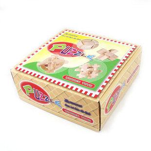 成人益智玩具 智力玩具 孔明鎖魯班鎖魯班木 解鎖彩盒4件套