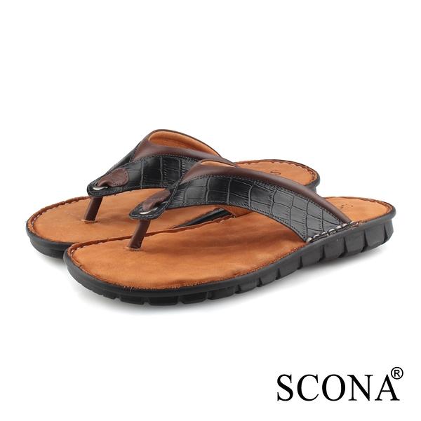 SCONA蘇格南 全真皮 精縫手工夾腳厚底涼鞋 黑紋 1750-1