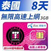 【TPHONE上網專家】泰國 8天無限上網 DTAC當地原裝卡 不須實名 插卡即用 贈送$100當地通話費