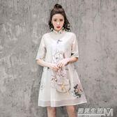 新款歐根段高檔水墨印花復古風改良旗袍A字連身裙  遇見生活