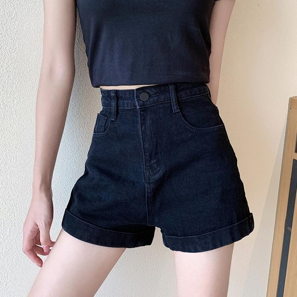 黑色高腰牛仔短褲女夏2021新款直筒寬鬆顯瘦闊腿褲小個子超短褲子 伊蘿