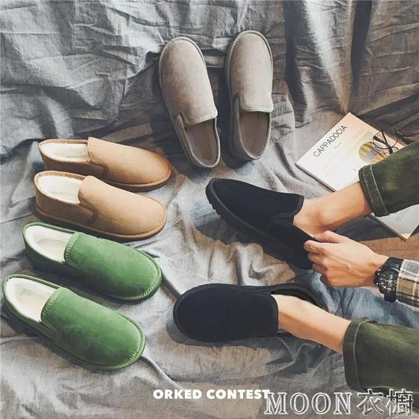雪地靴男 男鞋冬季保暖麵包鞋男一腳蹬加絨豆豆鞋男士雪地靴短筒情侶棉 快速出貨