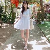 洋裝 氣質收腰短裙洋氣V領連身裙