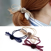 【NiNi Me】 韓系髮飾 復古時尚花朵蝴蝶結氣質髮束 髮束 H9008