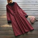 東京奈奈日系森林系蕾絲棉麻格紋立領長袖寬鬆洋裝[j81456]