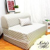 【KOTAS】高彈力緹花精織彈簧沙發床椅(送卡哇伊緹花抱枕)-白