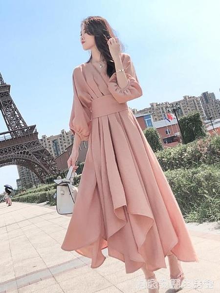 粉色洋裝女年春季新款女裝法式高級感名媛氣質顯瘦春夏裙子 居家物語