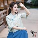 上衣 棉麻繡花民族風傳統文化衣服女改良式唐裝漢服茶藝服短款