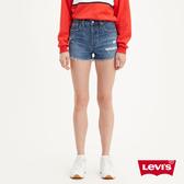 Levis 女款 501中腰排釦牛仔短褲 / 不規則抓鬚破壞 / 無彈性