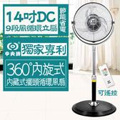 【狐狸跑跑】台灣製中央牌 14吋DC節能專利內旋式循環立扇KDS-142SR電風扇 電扇(附遙控器)