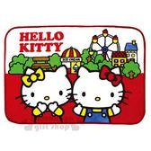 〔小禮堂〕Hello Kitty 圓角毛毯披肩《紅白.遊樂園.mimmy》毯被.單人毯 4930972-44096