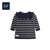 Gap女嬰兒荷葉邊條紋長袖針織洋裝477811-海軍藍色