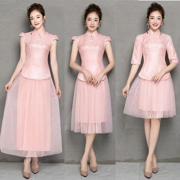 中長款民國風改良旗袍中式伴娘服紅色敬酒服姐妹裙閨蜜大碼禮服女 艾瑞斯居家生活