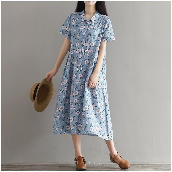 東京奈奈日系短袖印花寬鬆棉麻長洋裝[j68151]