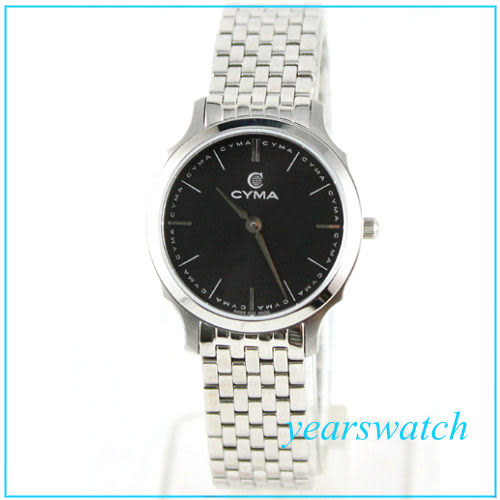 【萬年鐘錶】CYMA瑞士司馬錶 黑 超薄女錶 02-0459-002