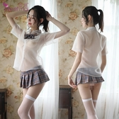 ■■iMake曖昧客■■學生角色扮演服!透視襯衫格子百褶裙五件式套裝﹝灰格﹞