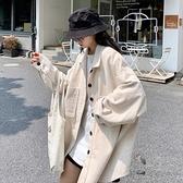 燈芯絨外套 韓版黑色燈芯絨襯衫秋季女裝寬鬆中長款港風長袖襯衣外套 芊墨左岸