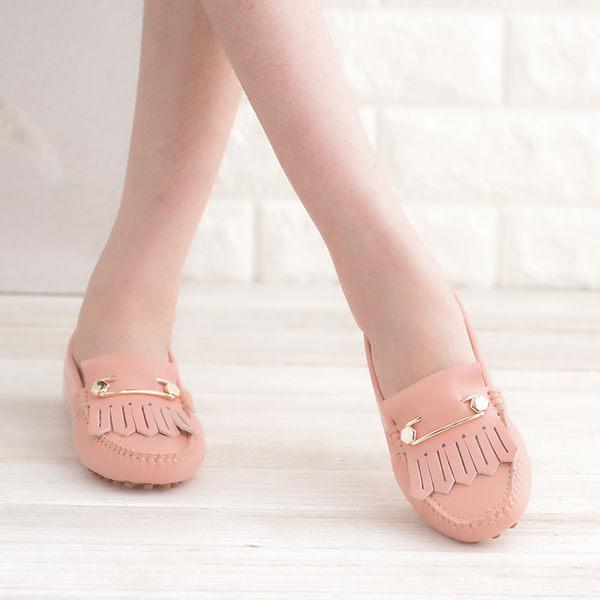 休閒鞋 玫瑰粉 女鞋 真皮平底娃娃鞋 懶人鞋《Life Beauty》