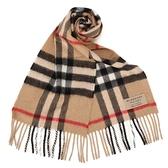 BURBERRY 經典格紋羊毛短圍巾(駝色)089539