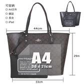 COACH 金馬車Logo雙面子母大托特包 肩背包(黑咖啡色)-36658