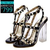 克妹Ke-Mei【ZT51142】外貿原單 軍風龐克水晶粗跟鉚釘皮質摟空羅馬高跟鞋