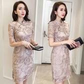 夏季時尚名媛復古港味宴會改良旗袍禮服蕾絲修身包臀洋裝女