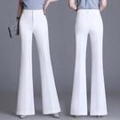白色喇叭褲女高腰垂感休閒顯瘦闊腿褲百搭春夏新款微喇長褲