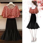 工廠批發價不退換洋裝兩件套XL-5XL中大尺碼34118女裝夏季新款胖妹妹顯瘦套裝雪紡衫半身裙兩件套
