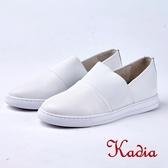 kadia.懶人鞋-拼接素面牛皮休閒鞋(8524-10白色)