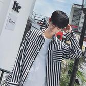 長袖襯衫 秋季港風長袖襯衫男士韓版潮流寬鬆休閒條紋襯衣男學生bf風上衣服-炫科技