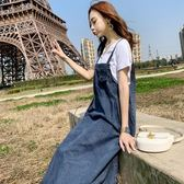 牛仔吊帶裙 連身裙 韓版 洋裝 花漾小姐【預購】