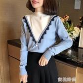 半高領毛衣女秋冬2020新款寬鬆顯瘦上衣甜美蕾絲長袖針織打底衫『蜜桃時尚』