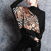 蝙蝠衫蝙蝠袖針織衫女歐貨2019春裝新款時尚豹紋寬鬆上衣高領洋氣小衫女 貝兒鞋櫃