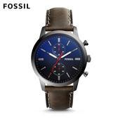 FOSSIL Townsman 雙眼計時個性大錶面灰黑色皮革手錶 男