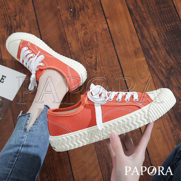 夯爆奶茶款 現貨 PAPORA 學生餅乾鞋多選擇綁帶休閒平底帆布鞋