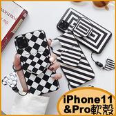 簡約黑白 iPhone11手機殼 iPhone11 Pro保護殼 iPhone11 Pro max軟殼 全包邊保護套 i11殼 愛心隨身鏡殼