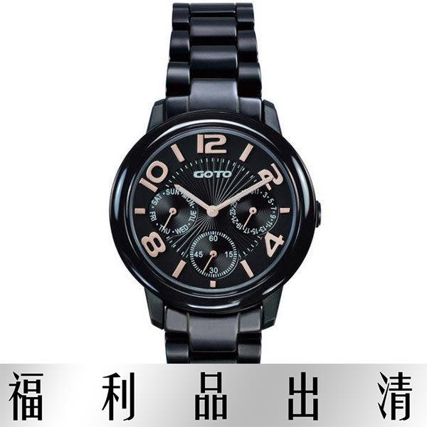 【台南 時代鐘錶 GOTO】林逸欣 GC6106L-33-341 三眼全日期陶瓷錶 中性錶款