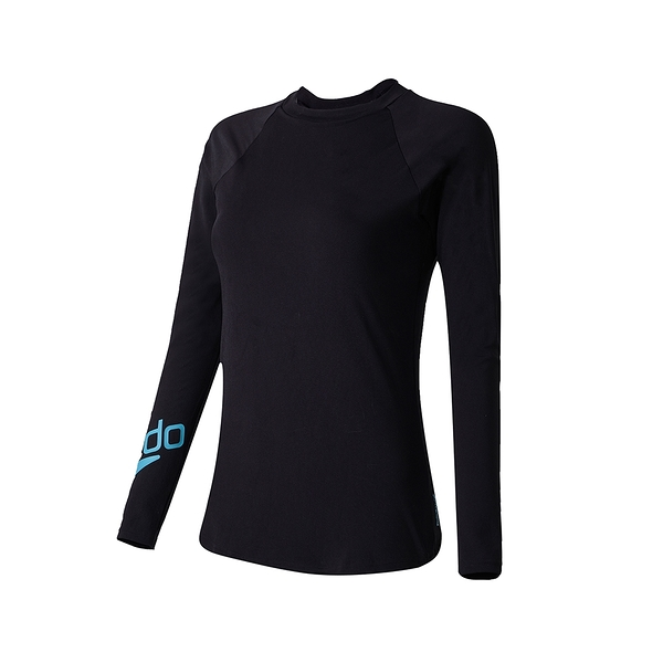 (C3)SPEEDO 女 長袖防曬衣 Boom Logo有襯墊 抗氯速乾SD812960F888黑藍 [陽光樂活]