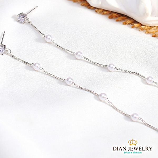 【DIAN 黛恩珠寶】仙氣珍珠 925純銀CZ鑽耳環(JS2875)
