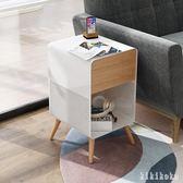 收納櫃北歐床頭櫃烤漆實木床邊櫃創意鐵藝多功能儲物櫃簡約邊幾 XY5260【KIKIKOKO】TW