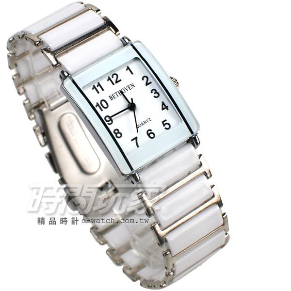 BETHOVEN 日本機芯 都會時尚 數字時刻 方形 陶瓷錶 中性錶/女錶/男錶/都適合 白色 BE2005白大