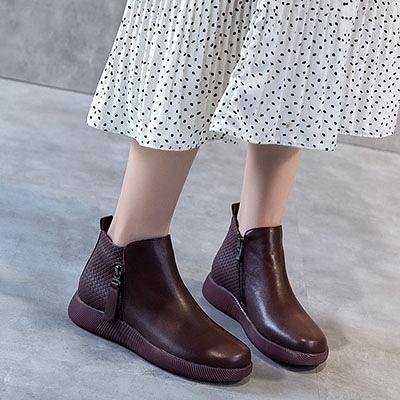 真皮手工鞋 圓頭側拉鏈短靴 休閒馬丁靴-夢想家-標準碼-1010