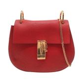 【台中米蘭站】全新品 Chloe Drew 荔枝紋小牛皮圓弧造型金鍊肩背包(紅)