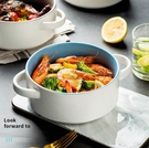 甜品碗 陶瓷雙耳碗家用餐具蒸蛋泡面碗湯碗單個甜品水果沙拉碗大號拉面碗【快速出貨八折下殺】