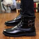 冬季男靴子男士馬丁靴皮靴中筒工裝軍靴
