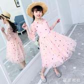 大碼女童洋裝 兒童大童洋氣裙子 女孩公主紗裙滿版蓬蓬裙  LN5339【東京衣社】