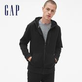 Gap男裝 運動連帽男士休閒上衣 透氣長袖開襟外套男 395747-正黑色
